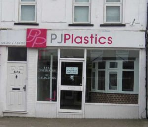 P J Plastics showroom before closure. The Window Wizard Bexley can repair UPVC fitted by P J Plastics