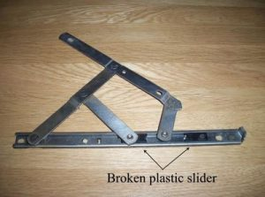 UPVC window hinge broken plastic slider on window hinge