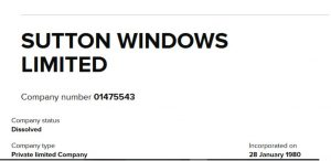Sutton Windows Ltd Double Glazing Manufacturer gone bust